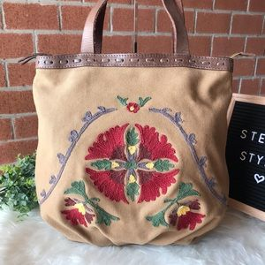 Lucky Brand Canvas & Leather Tote Shoulder Bag
